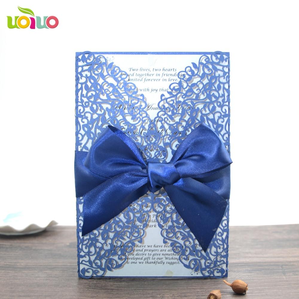 Online Shop 50pc Laser Cut Wedding Invitations Elegant Sea Blue