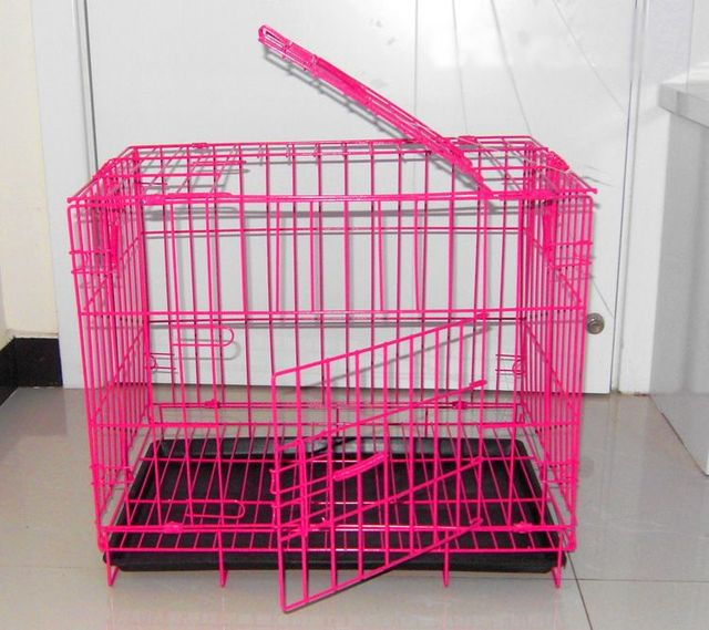 blue color and pink color dog cage with black tray iron