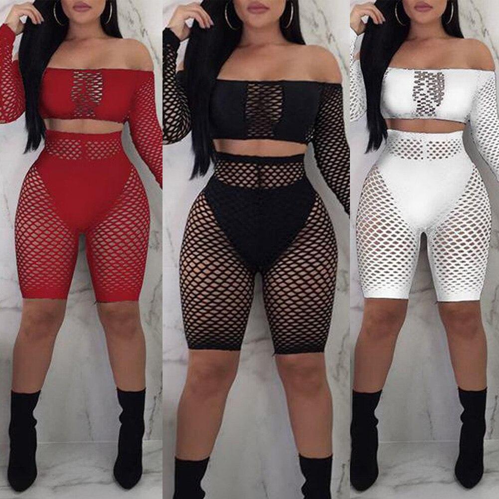 Women Sexy Bikini Cover Up Two Pieces Fishnet Mesh Leotard Lingerie Set Romper Off Shoulder Jumpsuit