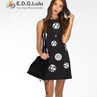 EDGLuLu sun print summer women casual street wear sleeveless dress best selling 2018 products overall black dress