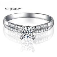 ANI 18 K Белое Золото (AU750) обручальные кольца 0,4 КТ Сертифицированный I/SI круглый бриллиант 2 ряда дрель 4 когти Женское Обручальное кольцо по инд