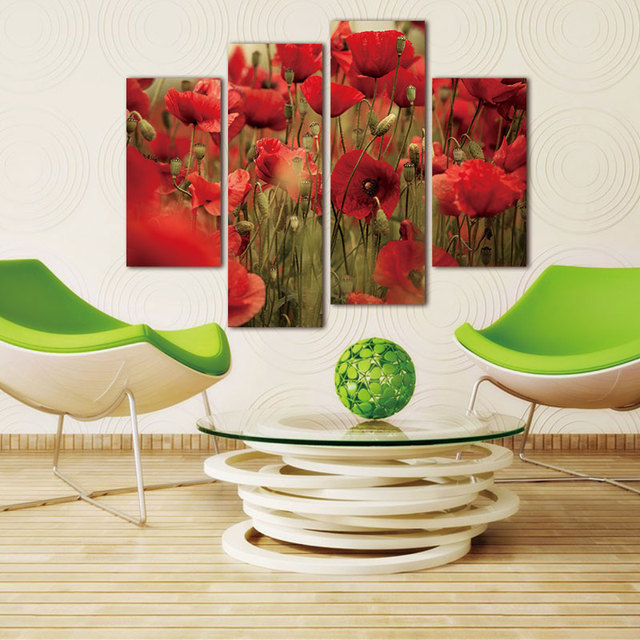 Modern canvas Flower Wall Painting Abstract Red Flower Poppies Painting Print on Canvas Wall Art modular picture Home decor