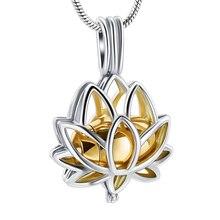 Нержавеющая сталь цветок лотоса подвеска-сувенир для женщин Мини урна для кремации; бижутерия памятные ювелирные изделия пепел медальон 2 цвета