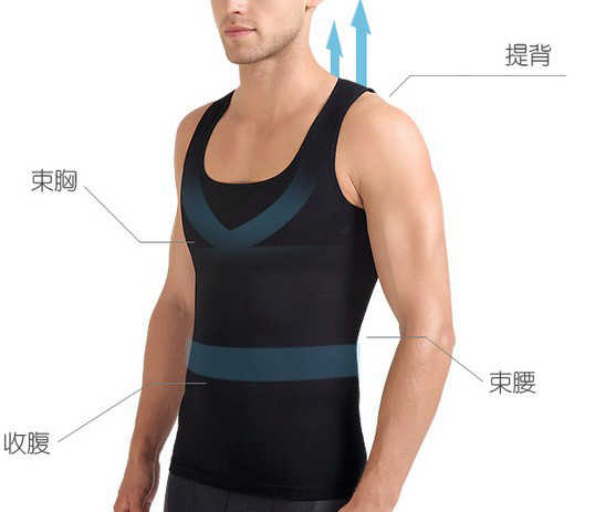 e90c74f64c ... Men Cool Gynecomastia Shapers Compressive Vest Slimming Waist Control  Belly Tops Shirts Sleeveless Underwear ...