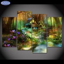 Flores árvores da floresta casa, 4 pçs/set, Needlework Diy Diamante Bordado Pintura Diamante Ponto Cruz Cheia de Diamantes Quadrados de Mosaico