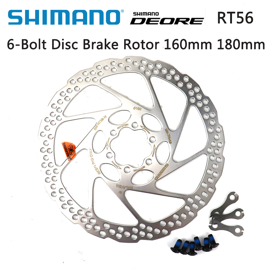 SHIMANO RT-56 180MM DISC BRAKE BICYCLE ROTOR WITH BOLTS MOUNTAIN BIKES BRAKES.