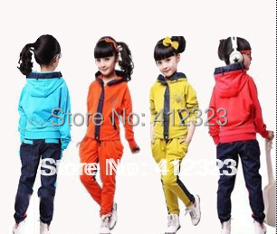 2015 new  children kids Girls clothing set Fashion casual spider hoody coat +pant trouses tracksuits clothes set clothes