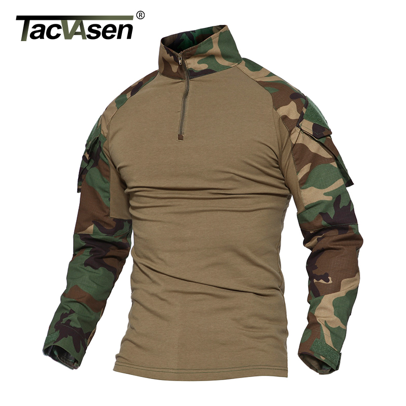 TACVASEN Python Camouflage Male T shirts Army Combat Tactical T Shirt Military Men Long Sleeve T