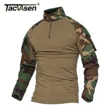 TACVASEN Python Camouflage Männlichen T-shirts Armee Kampf Tactical Military Männer Langarm T-Shirts WHFE-022