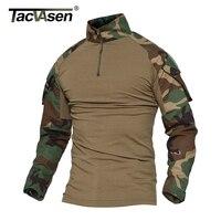 TACVASEN Python Camouflage Maschio T-Shirt Combattimento Dell'esercito Tactical T Shirt Militare Degli Uomini Manica Lunga T-shirt WHFE-022