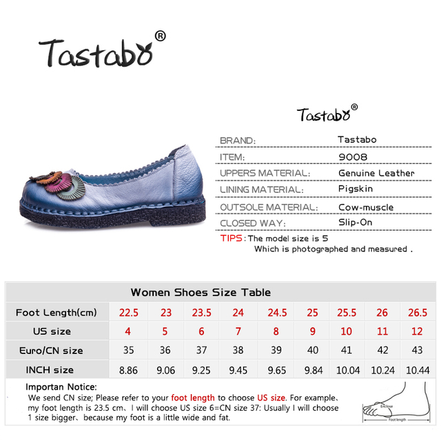 Tastabo Genuine Leather Flat Shoes Loafers Female Solid Comfortable Casual Shoes Plus Size Real Leather Handmade Women Flats