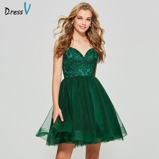 e25fd8a771b94 Dressv koyu yeşil homecoming elbise zarif spagetti sapanlar kısa mini  aplikler tül balo homecoming & mezuniyet