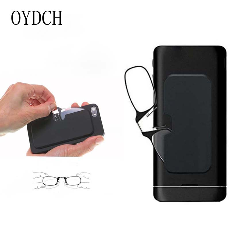 Legless Clip Nose Reading Glasses Portable Men's And Women's Presbyopic Glasses Mini Glasses Sticky Mobile Phone Case