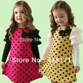 2017New Spring Dress For Cutie Girls Polka Dot Printted Little Kid's 1 Pieced Dress Hubble-bubble sleeve Design With 3d Bow-not
