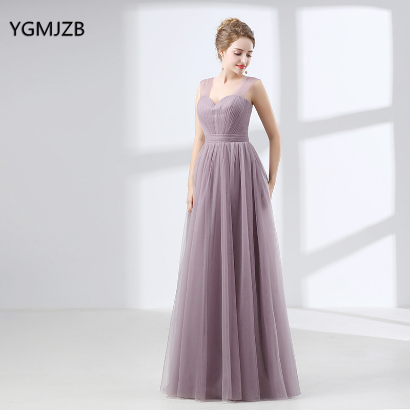 Cheap Long Bridesmaid Dresses 2017 A Line Tulle Floor Length Women Formal Party Gowns Elegant Wedding Party Dresses