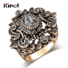 Kinel Vintage Jewelry Wholesale Punk Gray Crystal Ring For Women Antique Gold Color Wedding Party Accessories Gifts