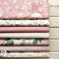 Free shipping 1pcs 160x50cm /7pcs 20x20cm pink Floral poetry volume twill cotton fabric, DIY bedding cloth decoration