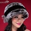 2016 Chapéu de Inverno Para As Mulheres Genuine Rex Rabbit Fur Hat Com Flor de Pele De raposa Fêmea Gorro de Pele de Peles de Boa Qualidade Casquette 7 cores