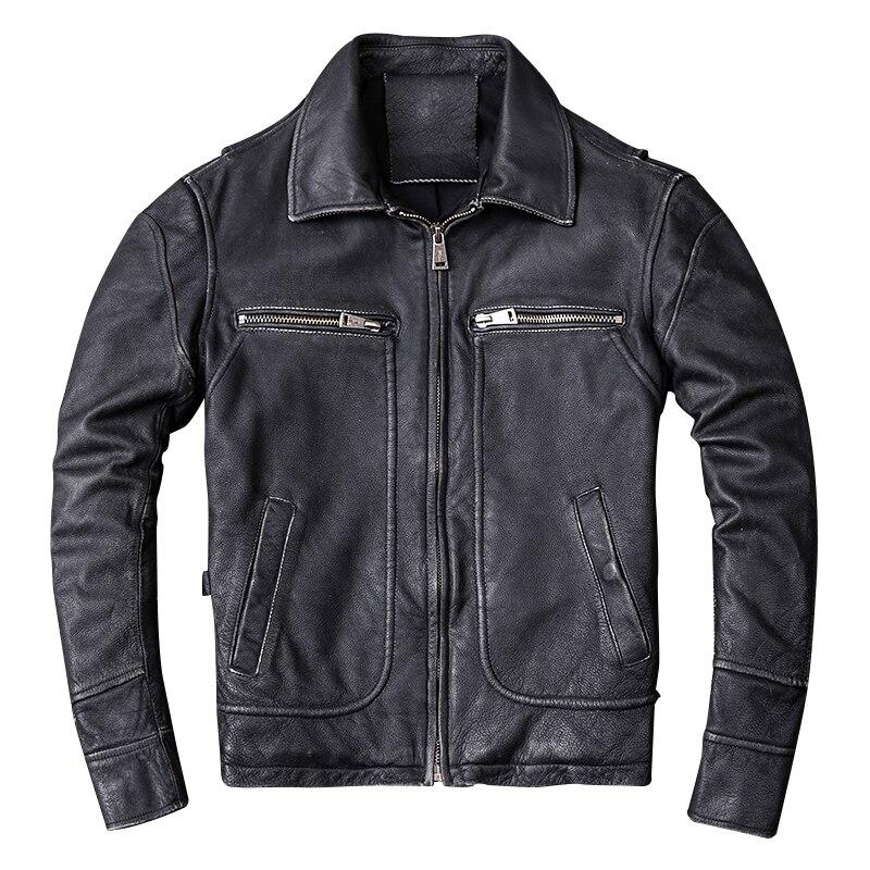 HARLEY QUETSCHE Vintage Noir Hommes Véritable Veste En Cuir de Motard Plus Taille XXXXL Vachette Épaisse Automne De Moto Russe Manteau
