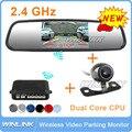 Nueva 2.4 Ghz Wireless RCA de Vídeo Transmisor Receptor kit + coche monitor del espejo + Reversa sensor de Aparcamiento + cámara de visión trasera inversa