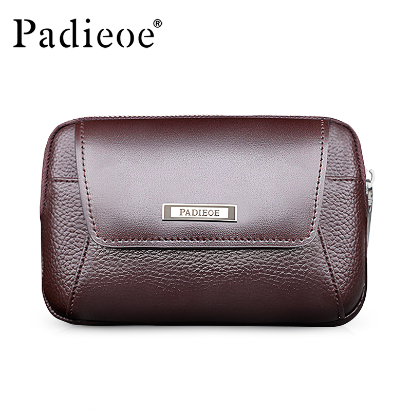 Padieoe Brand Men s Waist Bag Cowhide Fanny Pack Genuine Leather Belt Bag Travel Casual Men