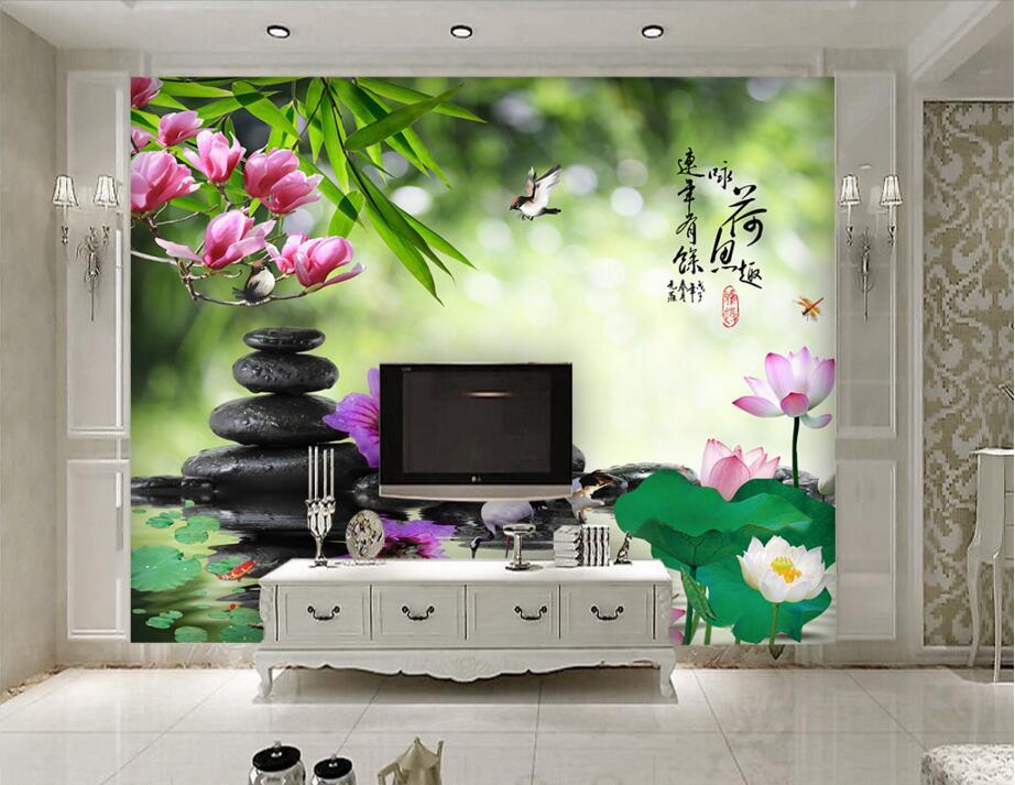 Custom photo d kamer behang foto lotus vijver lotus steen crane