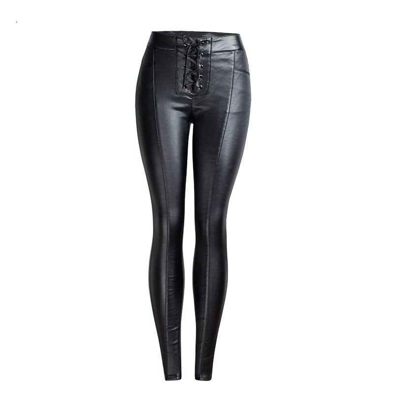 19 Winter Plus Size Stretch PU Leather Pants For Women High Waist Joggers Womens Trousers Pencil Skinny Waisted Female Pants 35
