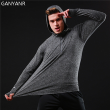 GANYANR Brand Running T Shirt Men Sportswear Fitness Jogging Tops Tee Slim Fit quick Dry Long Sleeve Athletic Hoodie Sports