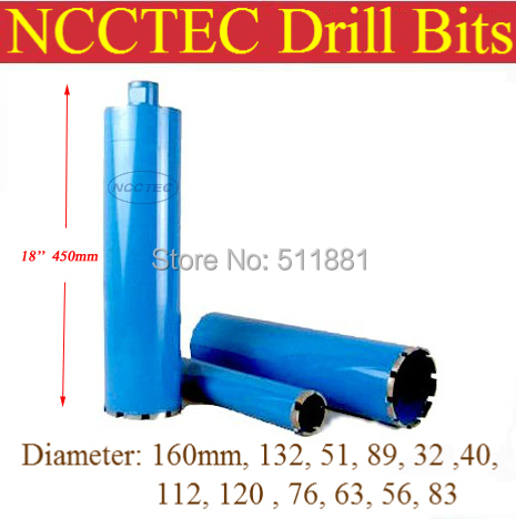 76mm*450mm crown diamond drilling bits FREE shipping | 3'' concrete wall wet core bits | Professional engineering core drill free shipping 1pc wet drill 51 450 8mm