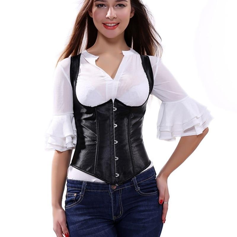 Caudatus Sexy Black Lace Up Satin Steel Boned Underbust Waist Cincher Vest with Straps Corset Underbust Shaper Plus Sizesteel boneunderbust vestunderbust corset vest -