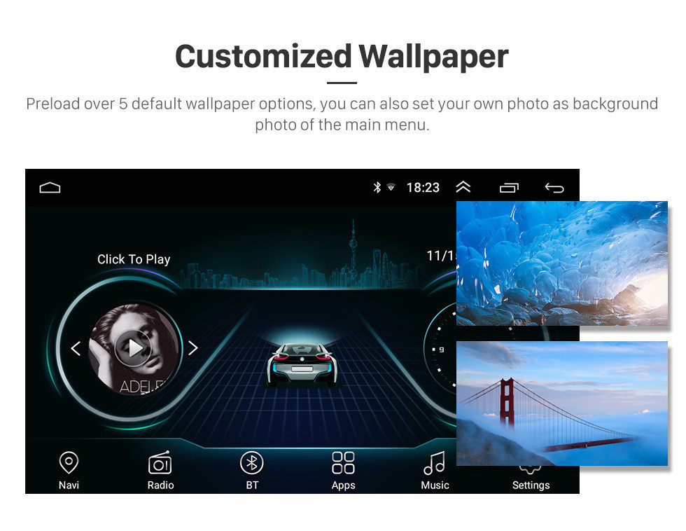 Harfey 2Din 9 inch Android 8.1 GPS Navi for Universal Car Multimedia Player HD 1024*600 Support Mirror Link SWC DVR Rear camera 15