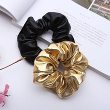 Women Pu Faux Leather Elastic Scrunchie Girls Headband Hair Rope Ponytail Holder Gold Black Hair Ties Hair Accessories 2018(China)