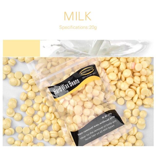 ELECOOL 20g süt aroması Film Balmumu Boncuk Epilasyon Balmumu Brezilyalı Granüller Film Kağıtsız Balmumu Boncuk Için Vücut Güzellik