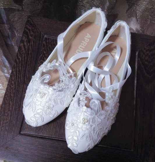 Sexy white lace with ivory pearls flats wedding shoes woman sexy long riband  ribbons ankle straps d2f8ff3fc7c5