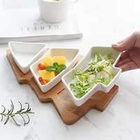 Creative Christmas Tree Bamboo Salver Ceramic Snack Plate Tray Set Removable Candy Cookie Plate