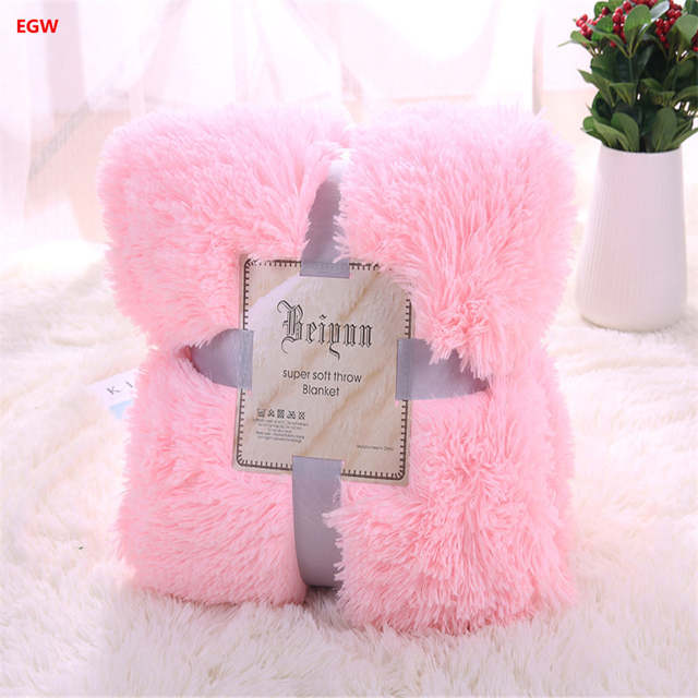 placeholder Gray pv long hair plush blanket pink fleece blankets warm soft  white blue red throw on bb98d0764