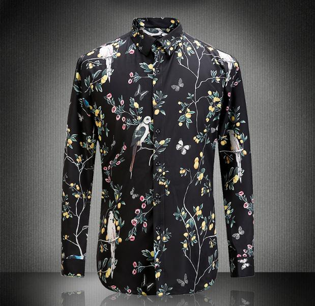 Europe and the United States men's new autumn 2016 Digital parrot floral printed cotton shirt