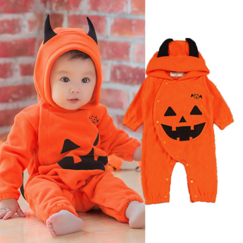 Halloween Newborn Baby Boys Girls Clothes Hoodies Pumkin Print Long Sleeve Romper Jumpsuit Kids Halloween Clothes Outfit Custome