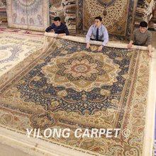 Yilong 10 #8217 x14 #8242 handmade jedwab ręcznie robione dywany ręcznie wiązane dywany jedwabne (ZQG348A) tanie tanio Classic or Modern Handlowych Modlitwa Dekoracyjne Hotel Bedroom Domu Perski Zwykły Gabinet 100 jedwabiu Ręcznie tkany