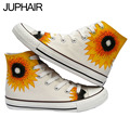 JUP Chinese Sunflower Style Hand Painted Graffiti Canvas Flat Shoes for Men Mans Boys Girl Couples High Top Style Fashion Shoes