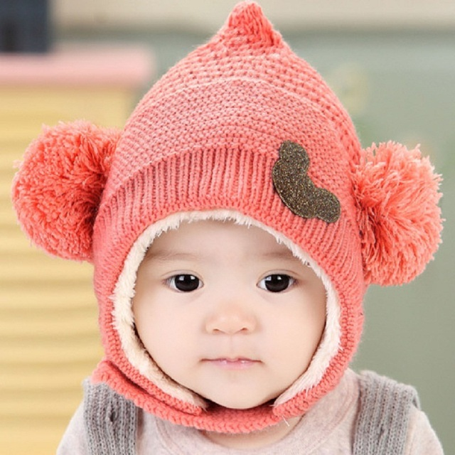 f6965d6f1be1f2 Lovely Girl Boy Caps Kids Woolen Newborn Hat bonnet Enfant Winter Hooded  Scarf Earflap Knit Cap Knitting Baby Hats Winter C884