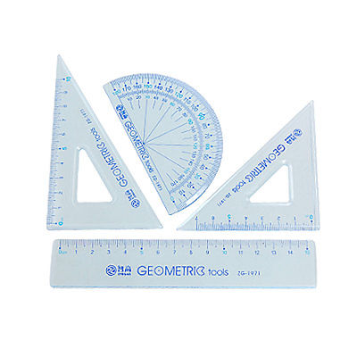 Protractor Triangle Straight Ruler 4 in 1 Combination