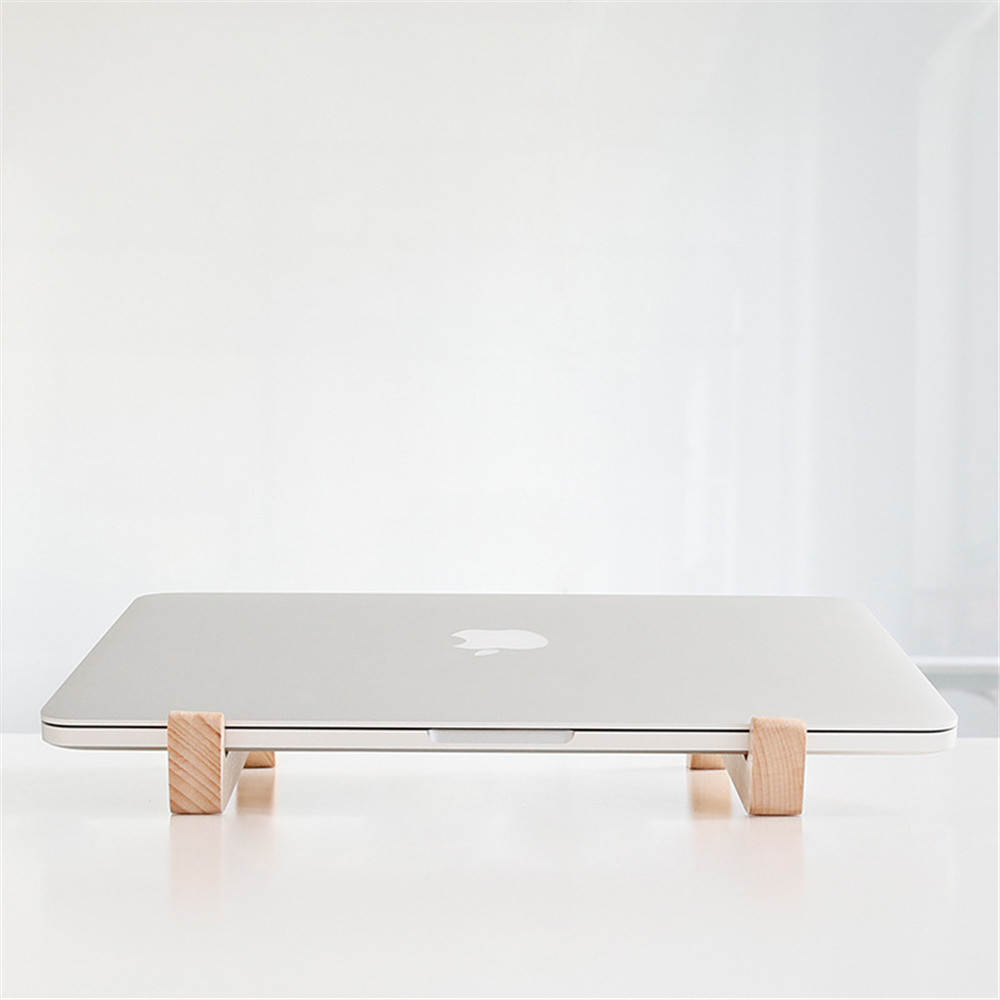 Portable 11 to 15.6 inch Laptop Wood Rack Minimalist Computer Desktop Stand Notebook Add Height Bracket for Macbook Dell Lenovo