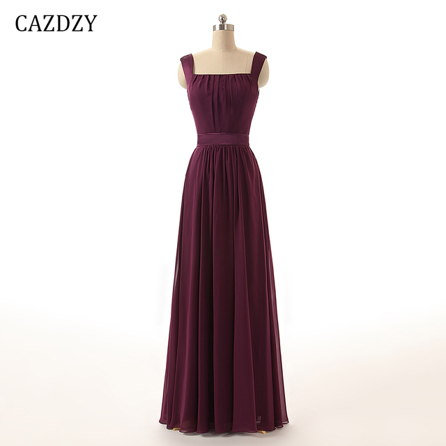 af62ec0a23f75 CAZDZY A Line Boat Neck Sleeveless Chiffon Ladies Dress Claret Floor Length  Bridesmaid Dresses with Pleats and Draped 1 118-in Bridesmaid Dresses from  ...