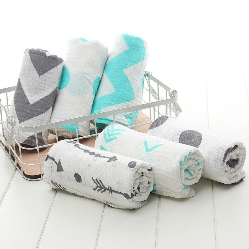 3-4pcs/lot 2 Layers Grey Arrow Muslin Cotton Multi-usage Swaddle Baby Muslin Receiving Blanket Bath Towel Newborn Swaddle Quilt