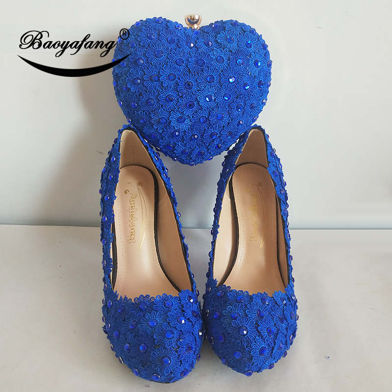 BaoYaFang crystal Royal Blue Flower Heart bag and shoes Woman Wedding shoes Bride platform shoes with