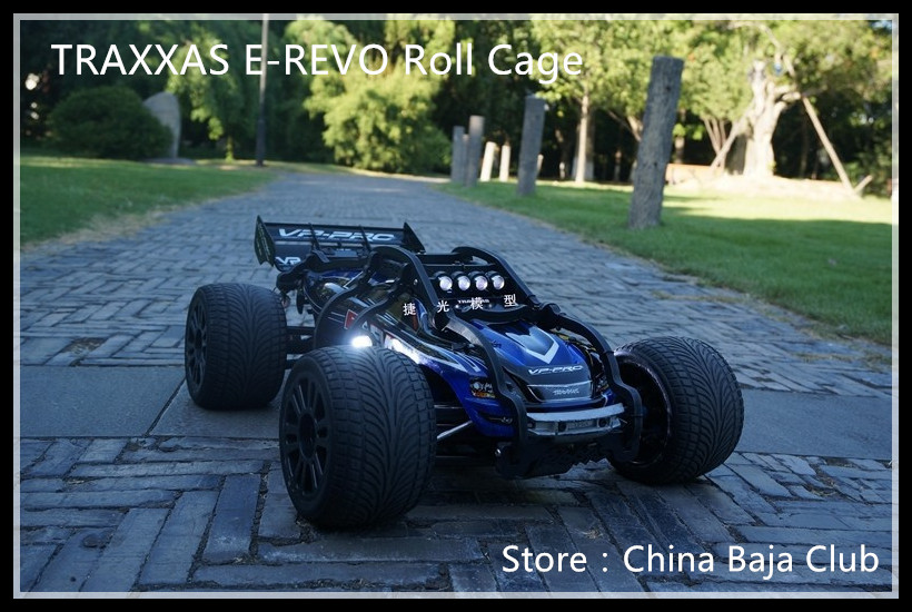 цена на 1/10 rc car TRAXXAS E-REVO Car shell Roll Cage Nylon body cover protection with 2 wheel wheelie bar HPI Racing
