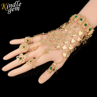Fashion Unique India Bracelet Rings Jewelry Set Dubai Rich Gold Plated Bangle 5 Different Ajust Rings