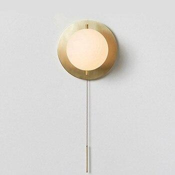 Nordic Woonkamer Opknoping Lamp Glas Bal Eenvoudige Moderne Loopbrug Pull Touw Slaapkamer Bed LED Versieren Muur Lichtpunt