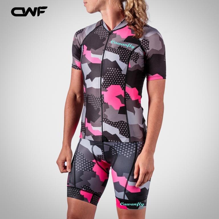 2018 mujeres ciclismo Jersey manga corta transpirable ropa ciclismo ropa pantalones del babero de Jersey equipo MTB bicicleta nueva